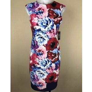 NEW Vince Camuto Sheath Dress Floral Lined Spring